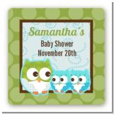 Owl - Look Whooo's Having Twin Boys - Square Personalized Baby Shower Sticker Labels