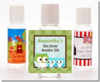Owl - Look Whooo's Having Twin Boys - Personalized Baby Shower Hand Sanitizers Favors