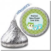 Owl - Look Whooo's Having Twin Boys - Hershey Kiss Baby Shower Sticker Labels
