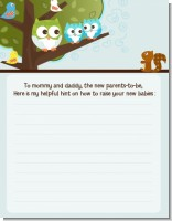 Owl - Look Whooo's Having Twin Boys - Baby Shower Notes of Advice