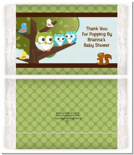 Owl - Look Whooo's Having Twin Boys - Personalized Popcorn Wrapper Baby Shower Favors