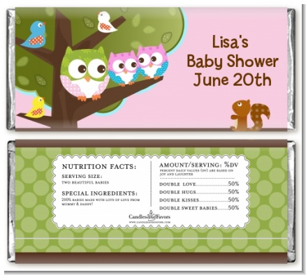 Owl - Look Whooo's Having Twin Girls - Personalized Baby Shower Candy Bar Wrappers