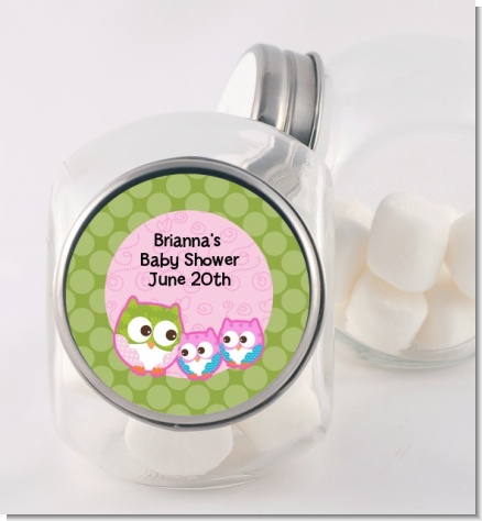 Owl - Look Whooo's Having Twin Girls - Personalized Baby Shower Candy Jar