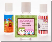 Owl - Look Whooo's Having Twin Girls - Personalized Baby Shower Hand Sanitizers Favors