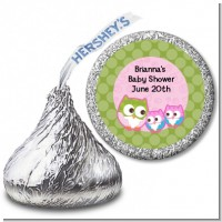 Owl - Look Whooo's Having Twin Girls - Hershey Kiss Baby Shower Sticker Labels