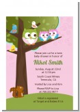 Owl - Look Whooo's Having Twin Girls - Baby Shower Petite Invitations