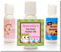 Owl - Look Whooo's Having Twin Girls - Personalized Baby Shower Lotion Favors