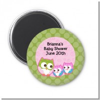 Owl - Look Whooo's Having Twin Girls - Personalized Baby Shower Magnet Favors