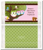 Owl - Look Whooo's Having Twin Girls - Personalized Popcorn Wrapper Baby Shower Favors