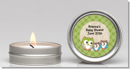 Owl - Look Whooo's Having Twins - Baby Shower Candle Favors