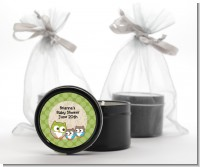 Owl - Look Whooo's Having Twins - Baby Shower Black Candle Tin Favors