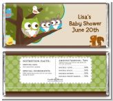 Owl - Look Whooo's Having Twins - Personalized Baby Shower Candy Bar Wrappers