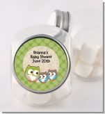 Owl - Look Whooo's Having Twins - Personalized Baby Shower Candy Jar