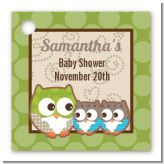 Owl - Look Whooo's Having Twins - Personalized Baby Shower Card Stock Favor Tags