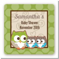 Owl - Look Whooo's Having Twins - Square Personalized Baby Shower Sticker Labels