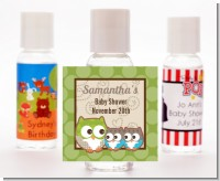 Owl - Look Whooo's Having Twins - Personalized Baby Shower Hand Sanitizers Favors
