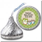 Owl - Look Whooo's Having Twins - Hershey Kiss Baby Shower Sticker Labels