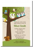 Owl - Look Whooo's Having Twins - Baby Shower Petite Invitations