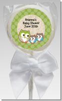 Owl - Look Whooo's Having Twins - Personalized Baby Shower Lollipop Favors