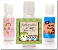 Owl - Look Whooo's Having Twins - Personalized Baby Shower Lotion Favors