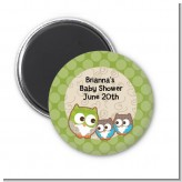 Owl - Look Whooo's Having Twins - Personalized Baby Shower Magnet Favors