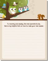 Owl - Look Whooo's Having Twins - Baby Shower Notes of Advice
