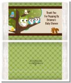 Owl - Look Whooo's Having Twins - Personalized Popcorn Wrapper Baby Shower Favors