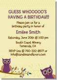 Retro Owl - Birthday Party Invitations