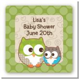 Owl - Look Whooo's Having A Baby - Square Personalized Baby Shower Sticker Labels