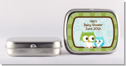 Owl - Look Whooo's Having A Boy - Personalized Baby Shower Mint Tins