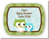 Owl - Look Whooo's Having A Boy - Personalized Baby Shower Rounded Corner Stickers