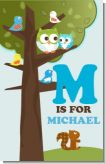 Owl - Look Whooo's Having A Boy - Personalized Baby Shower Nursery Wall Art