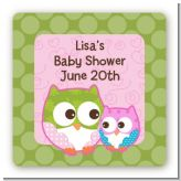 Owl - Look Whooo's Having A Girl - Square Personalized Baby Shower Sticker Labels
