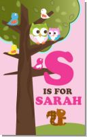 Owl - Look Whooo's Having A Girl - Personalized Baby Shower Nursery Wall Art