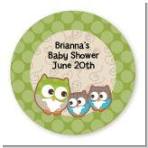 Owl - Look Whooo's Having Twins - Round Personalized Baby Shower Sticker Labels