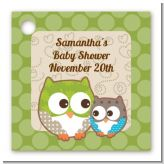 Owl - Look Whooo's Having A Baby - Personalized Baby Shower Card Stock Favor Tags