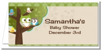 Owl - Look Whooo's Having A Baby - Personalized Baby Shower Place Cards
