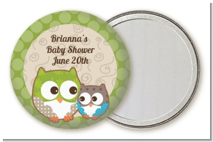 Owl - Look Whooo's Having A Baby - Personalized Baby Shower Pocket Mirror Favors
