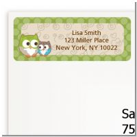 Owl - Look Whooo's Having A Baby - Baby Shower Return Address Labels