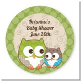 Owl - Look Whooo's Having A Baby - Round Personalized Baby Shower Sticker Labels