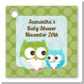Owl - Look Whooo's Having A Boy - Personalized Baby Shower Card Stock Favor Tags