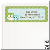 Owl - Look Whooo's Having A Boy - Baby Shower Return Address Labels