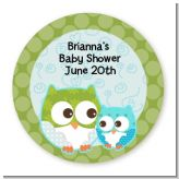 Owl - Look Whooo's Having A Boy - Round Personalized Baby Shower Sticker Labels