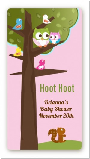Owl - Look Whooo's Having A Girl - Custom Rectangle Baby Shower Sticker/Labels