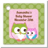 Owl - Look Whooo's Having A Girl - Personalized Baby Shower Card Stock Favor Tags