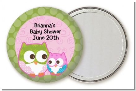 Owl - Look Whooo's Having A Girl - Personalized Baby Shower Pocket Mirror Favors