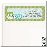 Owl - Look Whooo's Having Twin Boys - Baby Shower Return Address Labels