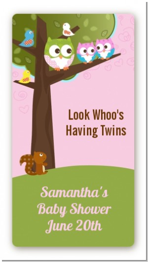 Owl - Look Whooo's Having Twin Girls - Custom Rectangle Baby Shower Sticker/Labels