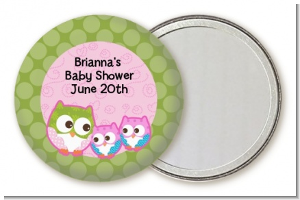 Owl - Look Whooo's Having Twin Girls - Personalized Baby Shower Pocket Mirror Favors