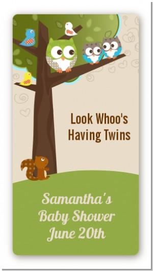 Owl - Look Whooo's Having Twins - Custom Rectangle Baby Shower Sticker/Labels